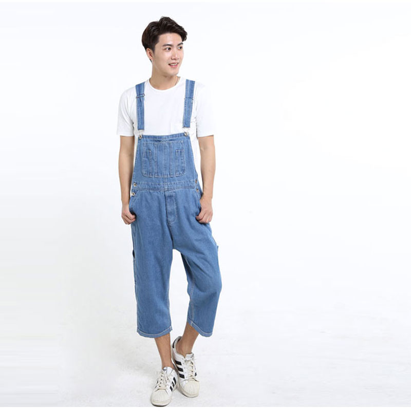 Men s Denim Jumping Pants Siamese Pants Oversized Diapers Pants Workwear Pants Cropped Trousers Loose Jeans