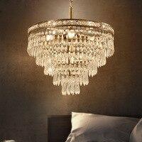Z Modern American Style Clear K9 Crystal Chandelier Round Design Bedroom Livingroom Hanging Lamp Villa Ceiling