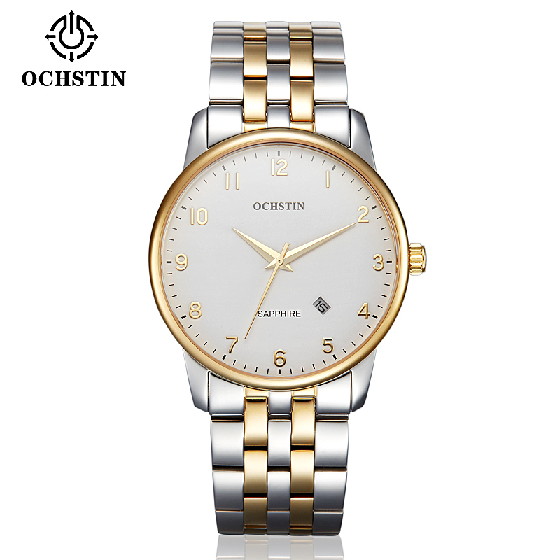 OCHSTIN Men Business stainless steel Watch Waterproof Luxury Brand Quartz Watches relogio masculino Clock male Gold Wristwatch natate men new business clock fashion men watch full gold stainless steel quartz wrist watch chenxi waterproof watch 0140