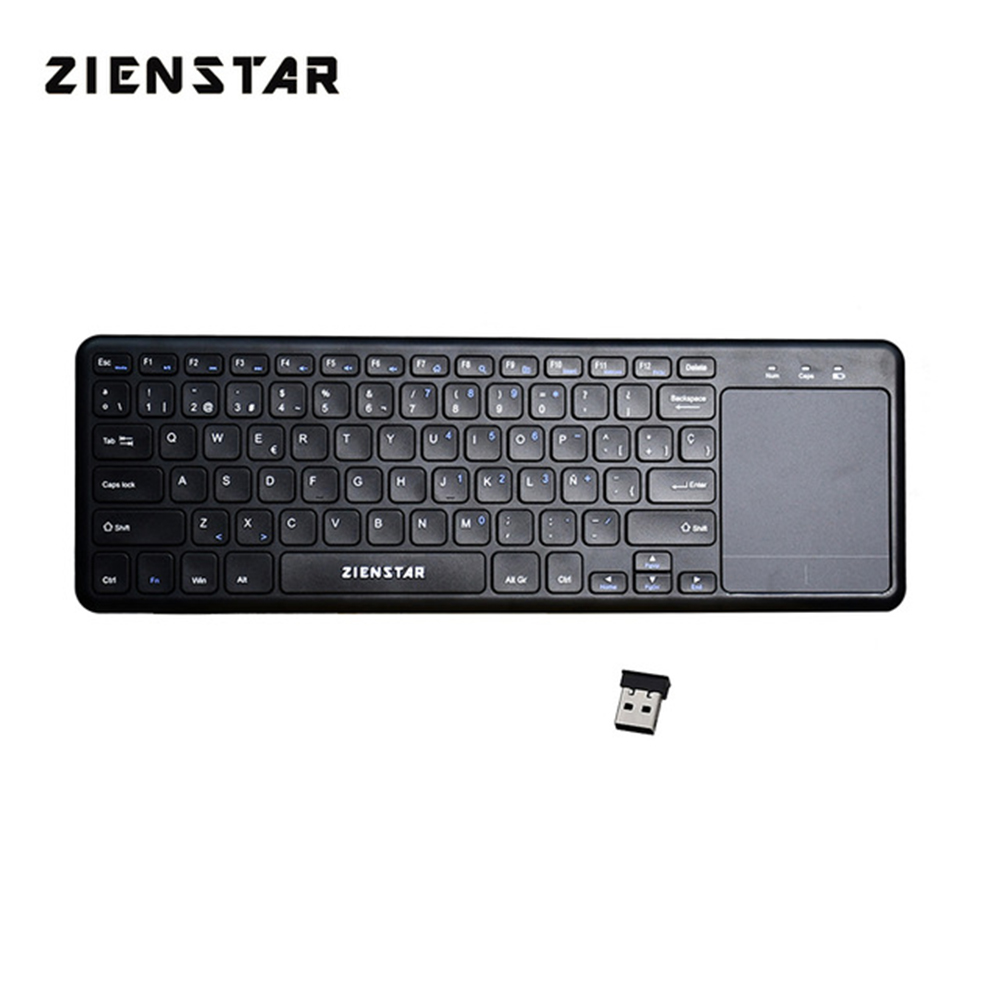 Zienstar Spanish Letter 2.4G Wireless Multimedia Keyboard With Touchpad For Windows PC,laptop,ios Pad,Smart TV,HTPC IPTV,Android