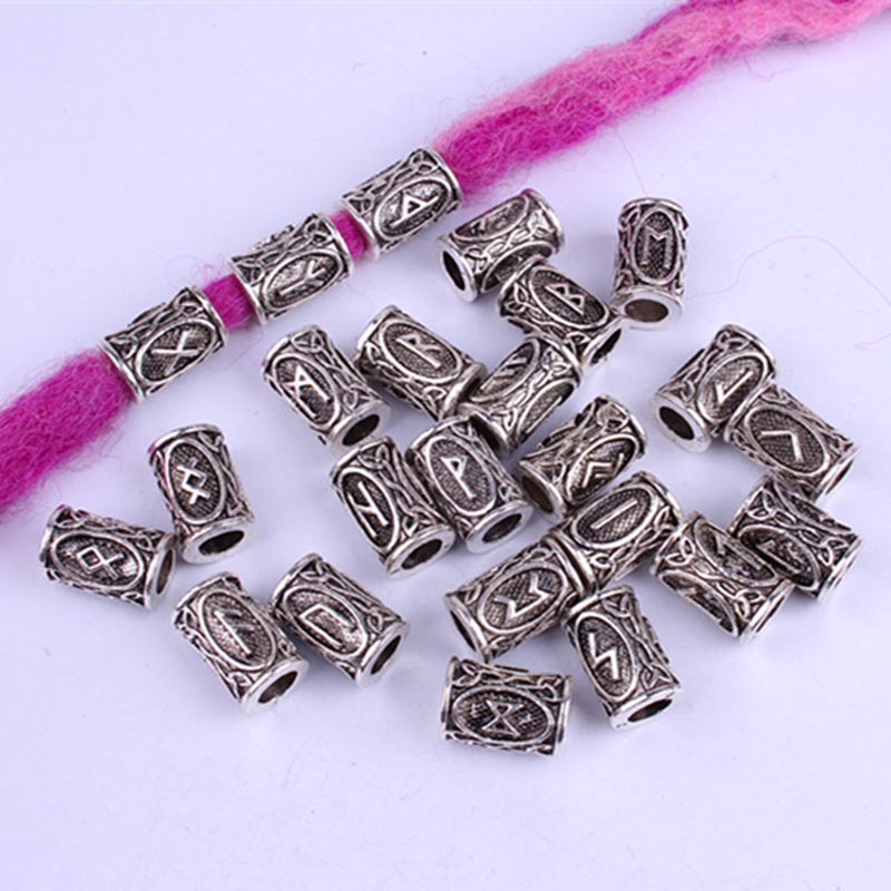 24pcs Mix Silver Hair Braid Beard Dreadlock Beads Rings Tube Viking Rune Pattern Design For DIY Hair Styling Accessories