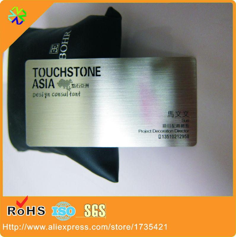 Factory Price!100pcs/lot L*W 80*50mm Luxurious 304 Stainless Steel Material Brushed Metal Member Cards Printing