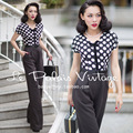 2016 Summer New Women Jumpsuits Retro Black and White Dot Slim Thin Wide Leg Pants Decorative Bow Behind The Zipper Bodysuit