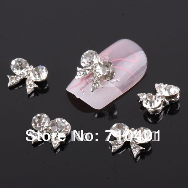 Xmas Item Free Shipping Wholesale/Nail Supply, 50pcs 3D Alloy Newest Clear Bowtie DIY Acrylic Nails Design/Nail Art, Unique Gift
