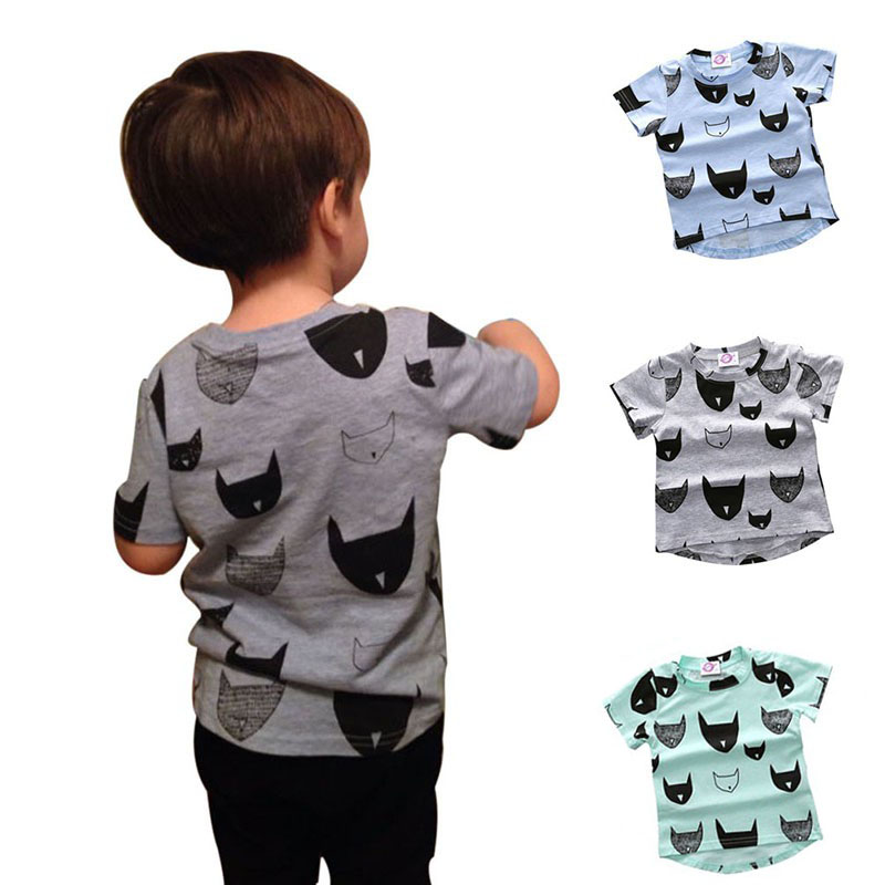 Kids T-shirt 100% Cotton Cat Print Short Sleeves Boys Girls Baby Tee for 1-5 years teens Children