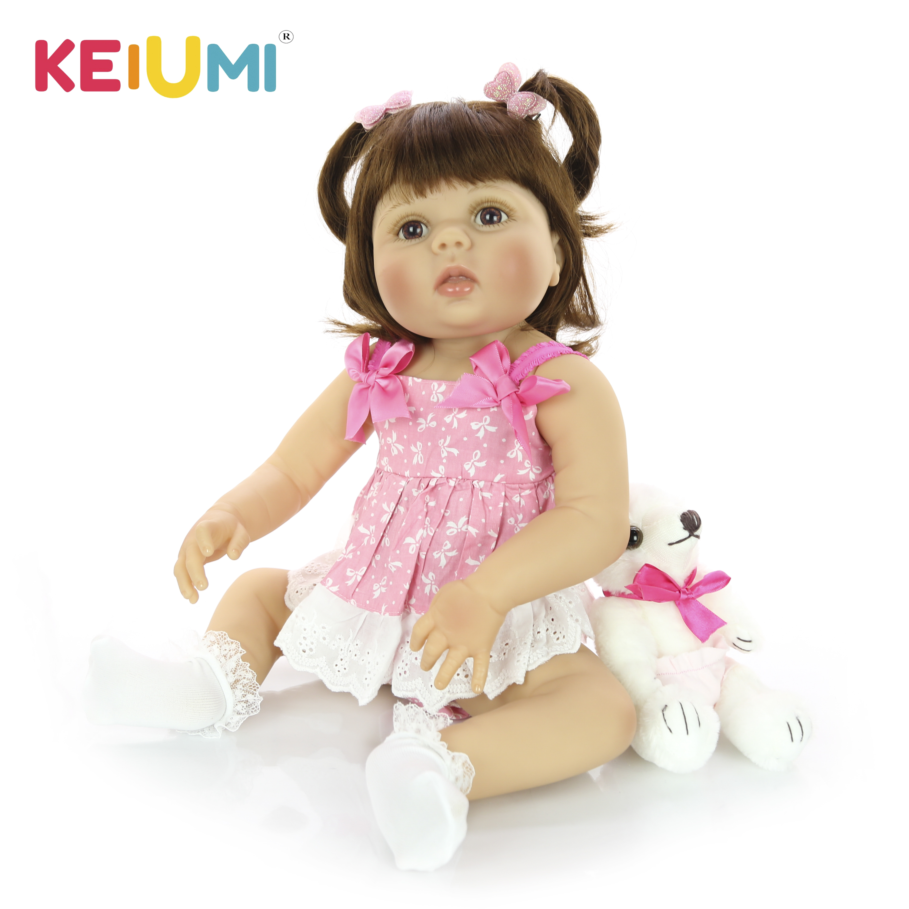 KEIUMI 2019 Reborn Girl Doll 23 57cm Reborn Boneca Lovely Full Body Silicone Doll For Children