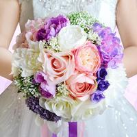Sztuczny Kwiat Bukiet Ślubny Bukiet panny młodej Rocznik Romantyczne Kwiaty Bukiet Niebieski Fioletowy opcjonalne 30