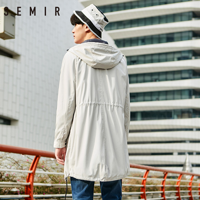 SEMIR Jackets mens long sleeve overcoat hoodied mens Dust coat for spring simple chic fashion clothing windbreak mens clothing