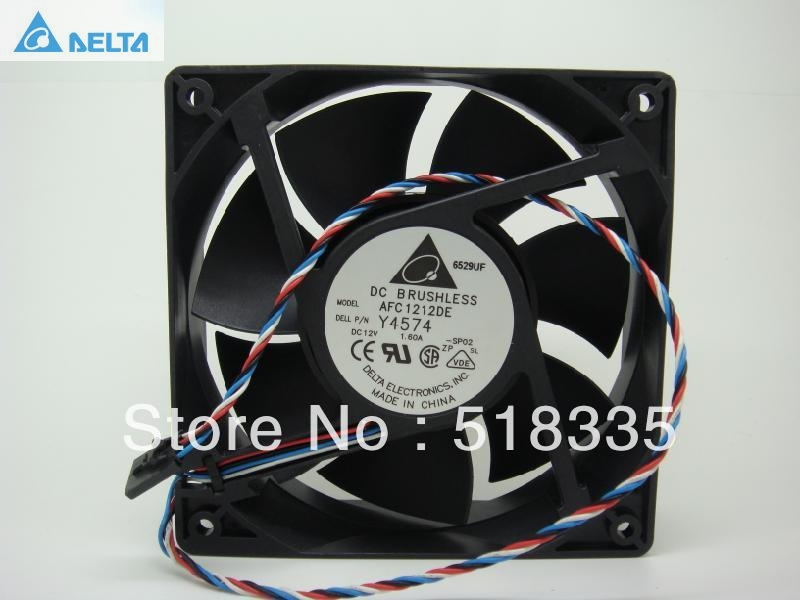 Delta AFC1212DE 12CM 120MM 12038 120*120*38MM 1.6A pwm the thermostat ball cooling fan free delivery 4e 115b fan 12038 iron leaf high temperature cooling fan 12cm