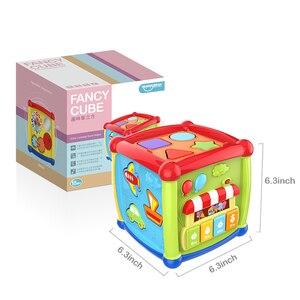 Image 3 - Çok fonksiyonlu müzikli oyuncak yürümeye başlayan bebek kutusu müzik piyano etkinlik küp geometrik blokları sıralama eğitici oyuncaklar 24 ay