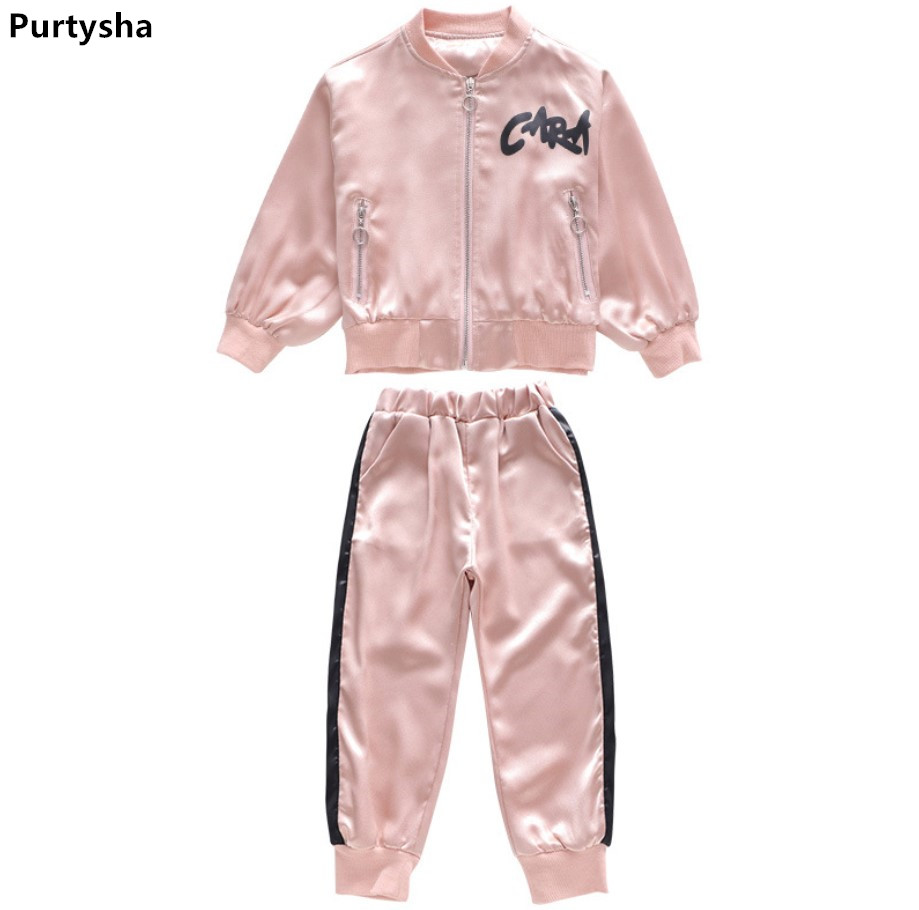 Children Tracksuit 2018 Spring Summer Long Sleeve Two Piece Set Pink Striped Sport Suits Kids Teens Clothes Girls Clothes 10 Y