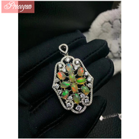 Trendy Natural Opal pendants for Women 925 sterling silver 18K white gold plated Luxurious Genuine Gemstone fine Jewelry #124