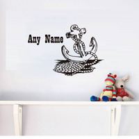 Modern Design Anchor Customized Personalized Name Wall Decals Vinyl Art Murals Removable Adhesive Wall Stickers Home Decor