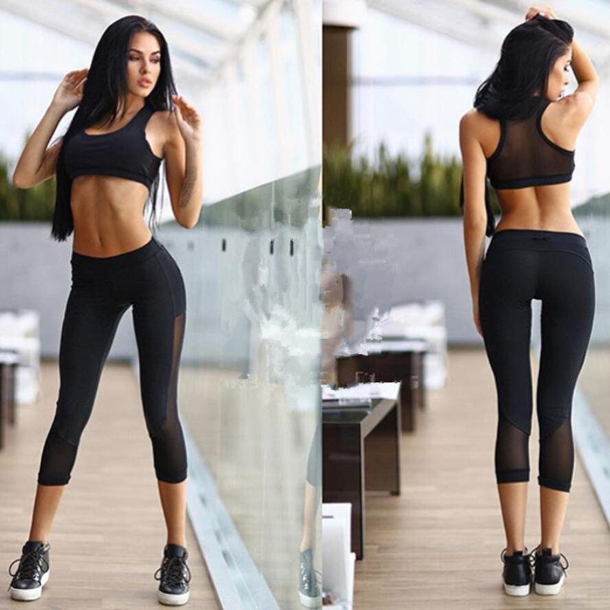 af6924be68441 2016 Summer New Women Yoga Sets Black Color Mesh Sport Bra Top And Pants  Female Running Tights Gym Fitness Sexy Sportswear