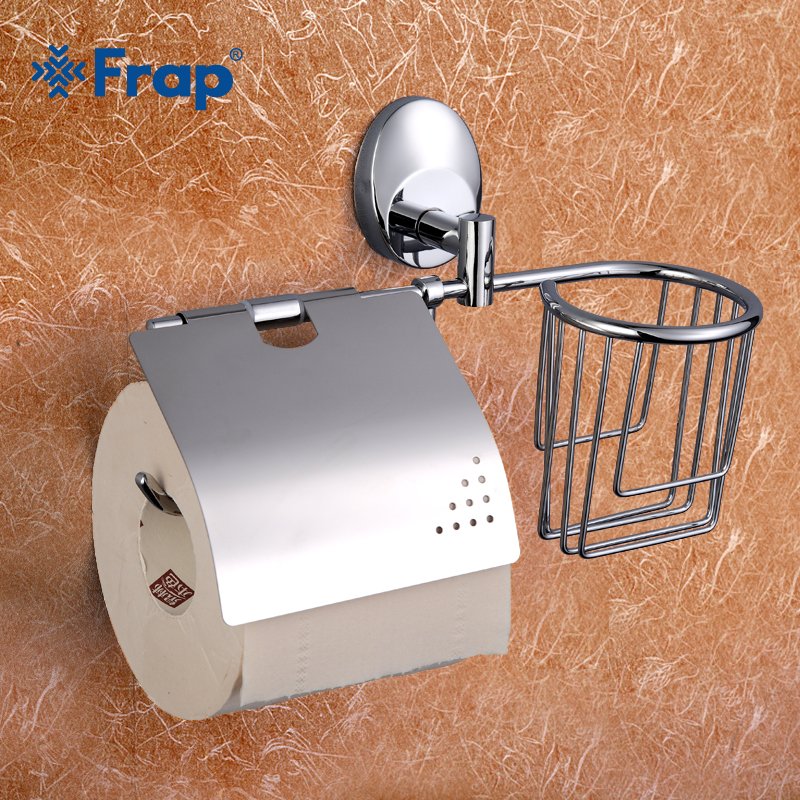 Frap 1 Set Stainless Steel Basket toilet paper holder with shelf  Space Aluminium Mounting Seat F1603-1 vik max adult kids dark blue leather figure skate shoes with aluminium alloy frame and stainless steel ice blade
