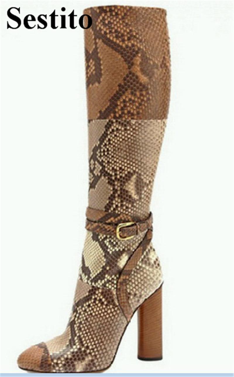 134e0b013dddb1 Super Femmes Serpent Européenne Bottes Hauteur Chaussures As Sabot Genou  Picture Du Rond Zip Bout Motif Haute Talon ...