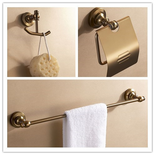 Aluminum bathroom accessories antique color cloth hook+paper holder+single towel rack bar bathroom hardware set bathroom space aluminum single towel bar towel holder bathroom accessories single towel rack