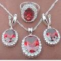 Классический Дизайн Красный Кубический Цирконий женская Серебряные Ювелирные Изделия Устанавливает Ожерелье Серьги Кольца Бесплатная Доставка TZ009