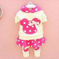 Hot New Spring Autumn Baby Girls Suit Clothing Set Children Hoodies Pants Kids Minnie Mouse Clothes