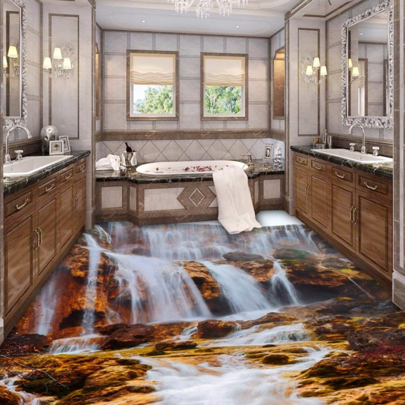 Free Shipping Waterfall Mountain Streams Toilet Bedroom 3D Floor waterproof wear non-slip lobby study flooring wallpaper mural streams of stream classifications