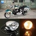 "12V Universal Motorcycle MotorBike Round Headlight 4"" Chrome Lamp Amber Light"