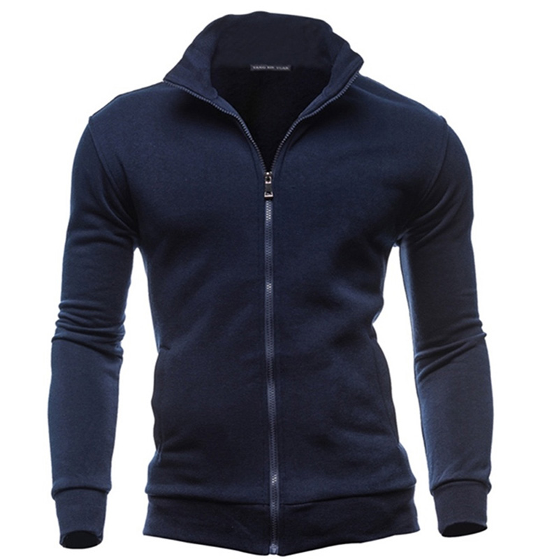 2019 Men Coat Brand Clothing Fashion Zip Stand Collar Man Casual Slim Hoody Sweatshirt