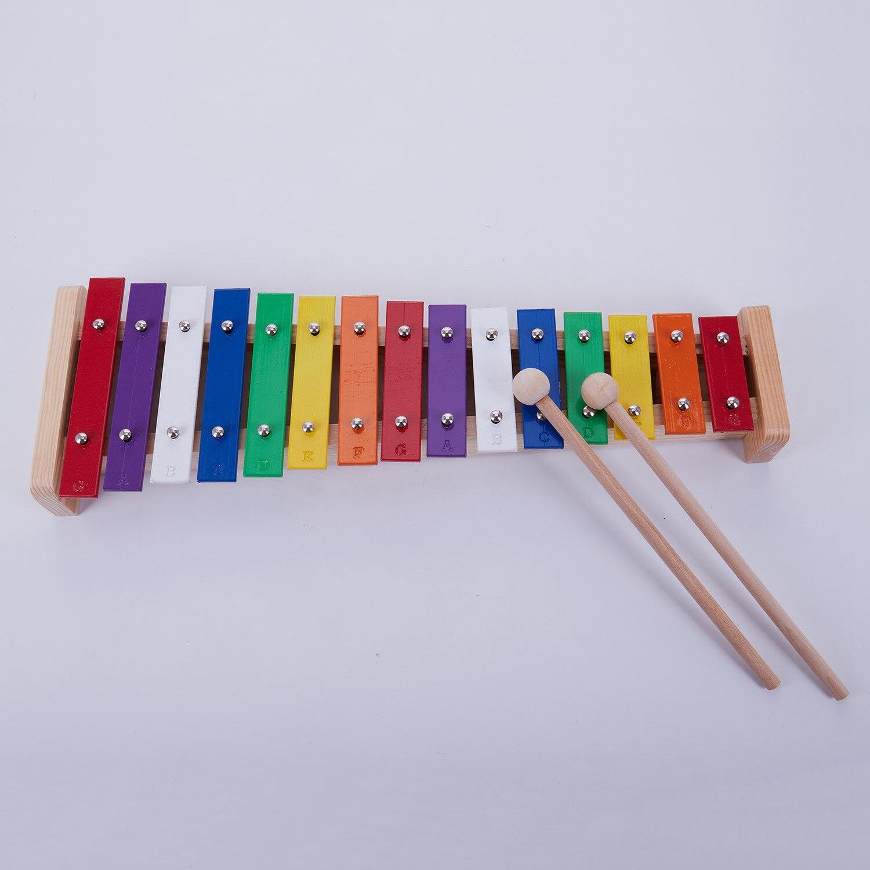 15-Nota de Madera Juguetes musicales enseñanza temprano educativo xilófono aluminio percusión Piano