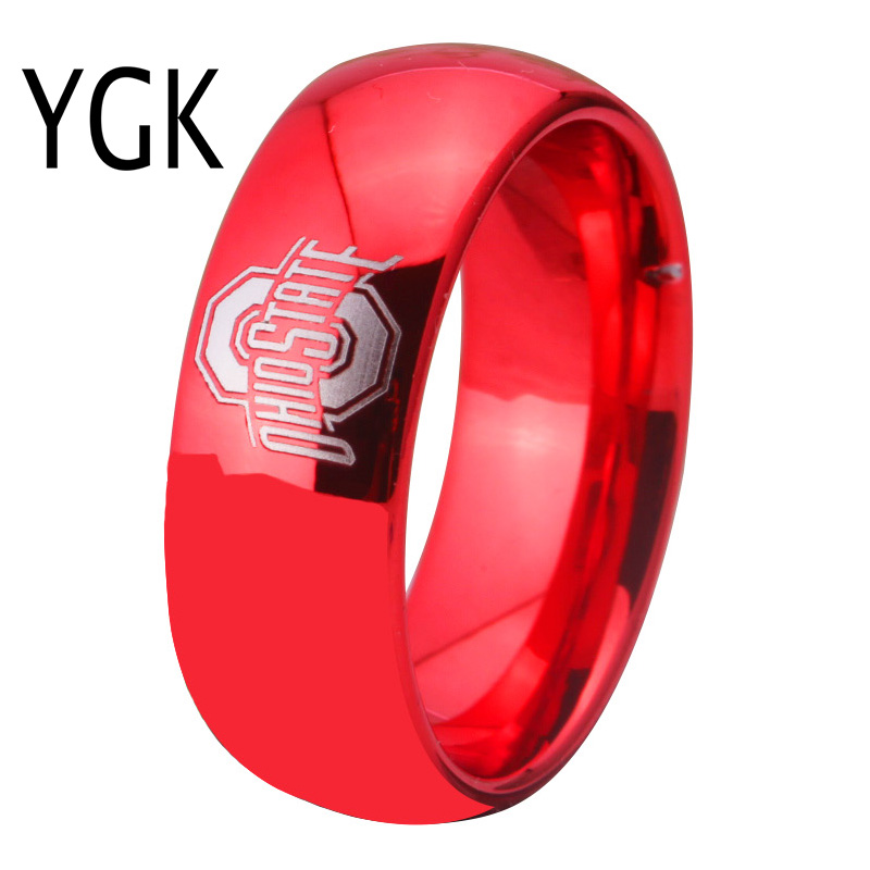 YGK JEWELRY Ohio State Design Ring 8MM Width Red Color Domed Tungsten Carbide Wedding Ring