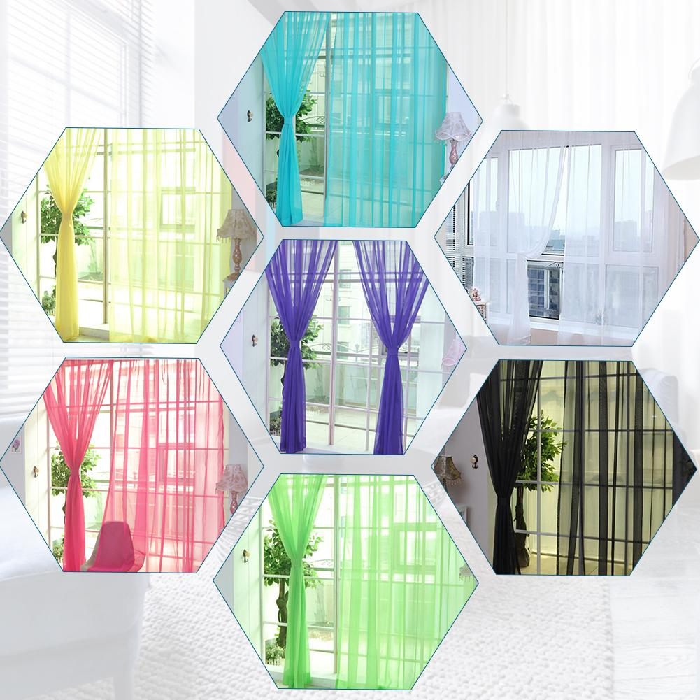 Image 3 - Colors Tulle Translucent Curtain Door Window Curtain Washable Drape Panel Sheer Scarf Valances Home Decoration Curtains-in Curtains from Home & Garden