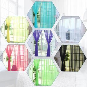 Image 3 - Farben Tüll Transluzenten Vorhang Tür Fenster Vorhang Waschbar Drapieren Panel Sheer Schal Schabracken Hause Dekoration Vorhänge
