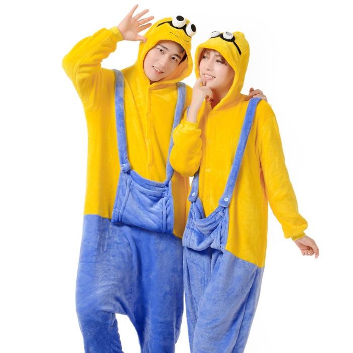 9ffd908f1e8339 US $25.5 |New 2015 Winter Christmas Couple Sleepwear Hoodie Pyjamas Adult  Despicable Me Minion Onesie Cosplay Costume Adult Minion Pajamas-in Pajama  ...