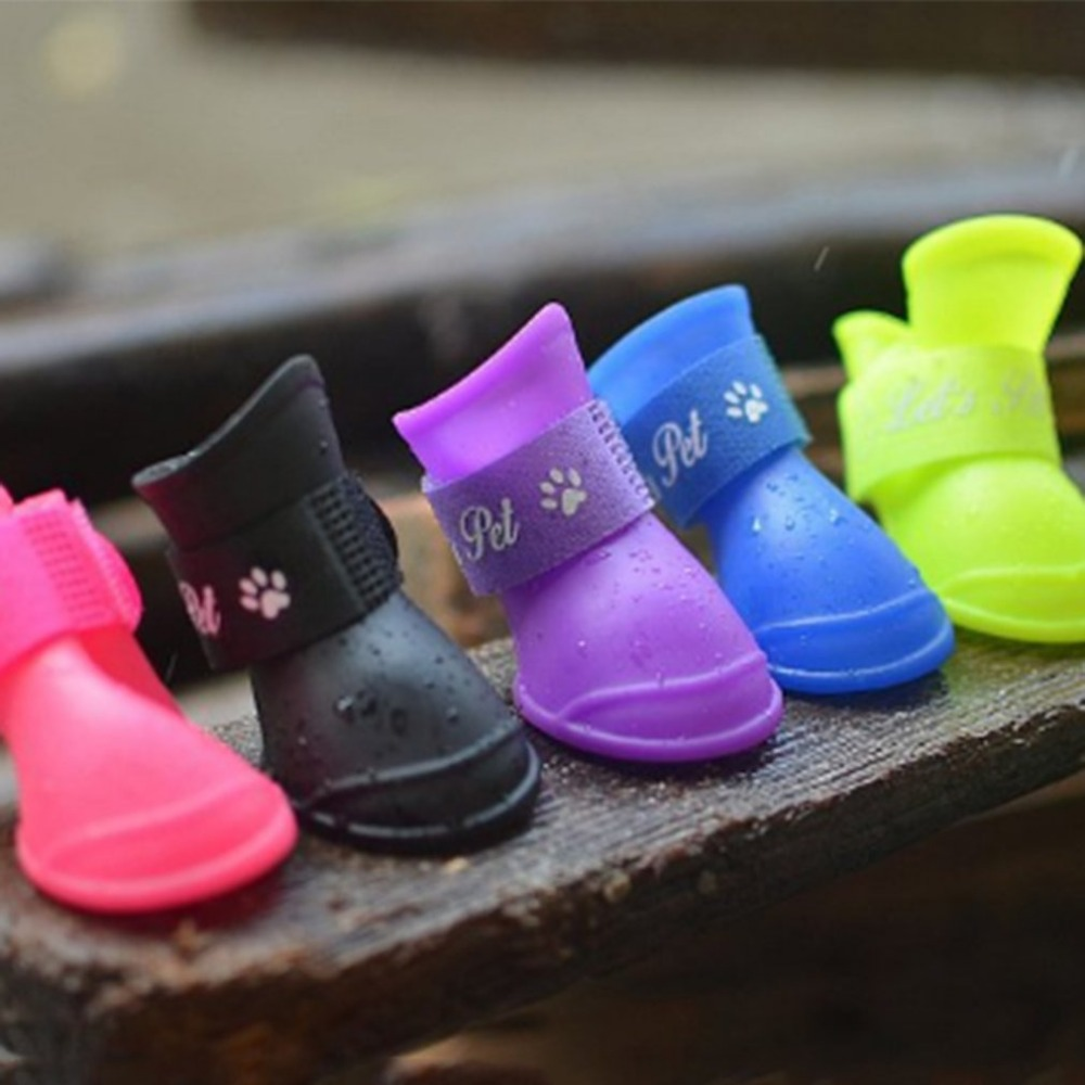 2pcs/set Pet Dog Shoes Waterproof Rain Pet Shoes for Dog Puppy Rubber Boots Candy Color Puppy Shoes Clothing Pet Products