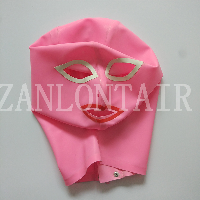 princess style sexy exotic lingerie women female girl handmade pink latex open eyes mouth hoods mask hood with trim cekc zentai in Teddies Bodysuits from Novelty Special Use