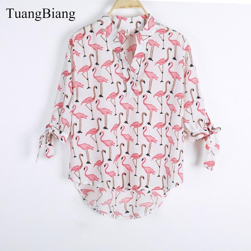 Women Short Front Long Back Bow Sleeve Flamingo Print Shirt Female V-neck Half Sleeve Loose Summer Blouse Tops