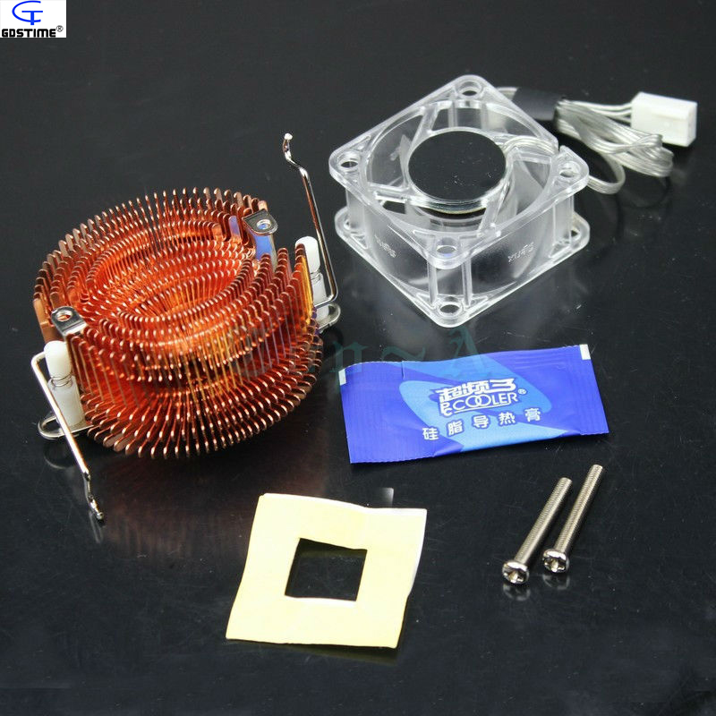 1pcs PC Cooler Small Fish Northbridge Radiator Copper North Bridge Chipset Heatsink with Crystal F-46 Cooling Fan 40*20mm