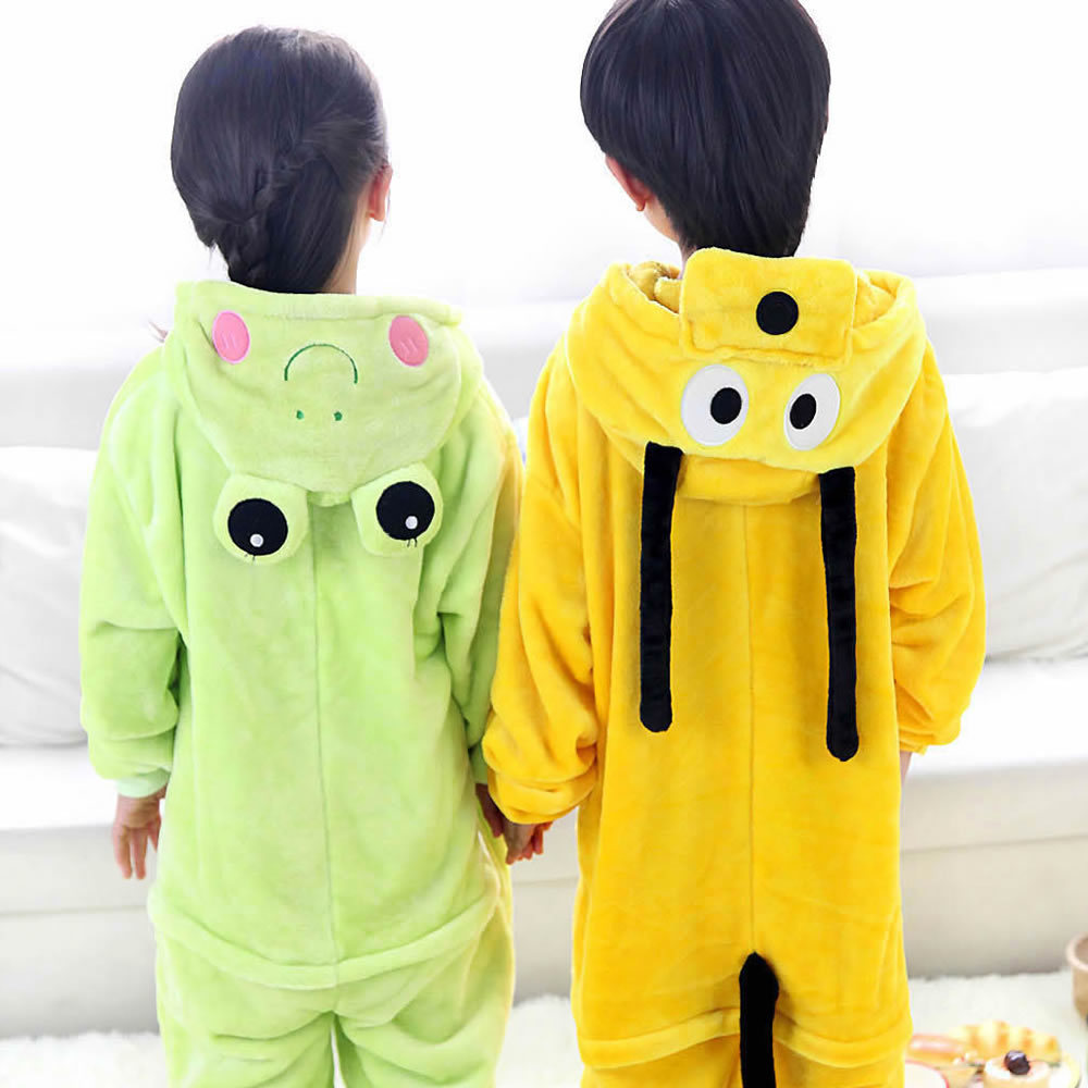 Goofy Frog Children Kids Boys Girls Pajamas Animal Pajamas Flannel Pajamas Winter Cartoon Animal Onesies Pyjamas
