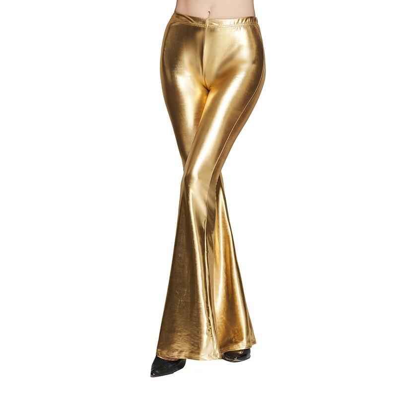 Printemps brillant or mi-hauteur pantalon femmes lâche taille haute pantalon Slim solide décontracté botte coupe longue en cuir pantalon Streetwear