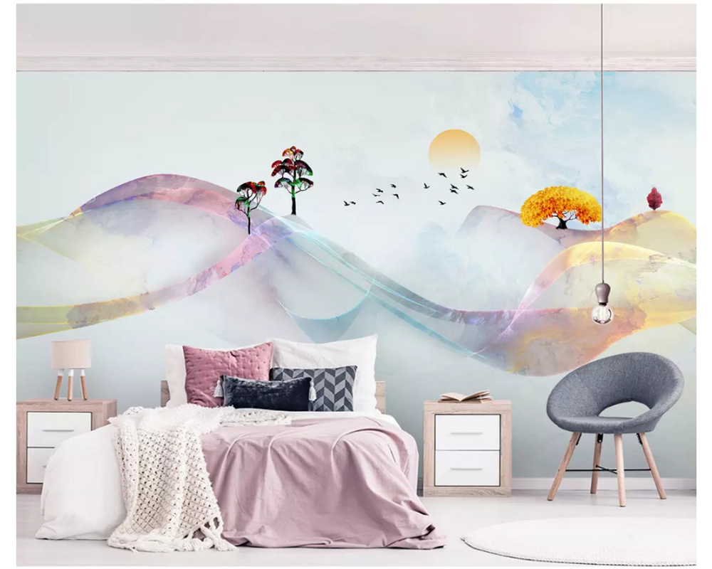 Купить с кэшбэком beibehang wall papers home decor New Chinese mood abstract lines golden landscape living room TV bedroom background 3d wallpaper