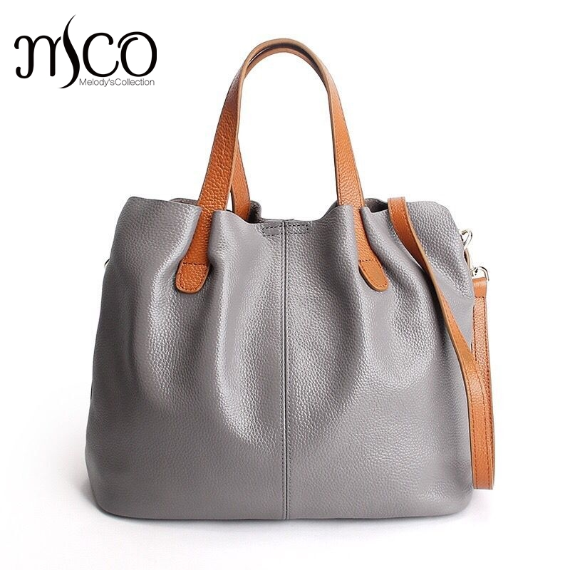 ФОТО Autumn New Women Leather Handbag Shoulder Bags Real Leather Ladies Fashion Casual Crossbody Tote Bag Large Capacity Shopping bag
