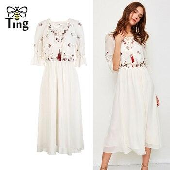 5f97a31c5 Tingfly 2019 nuevo verano bordado Floral V cuello de encaje gasa vestido  Casual de Midi de Boho vestido largo vestidos de fiesta de noche