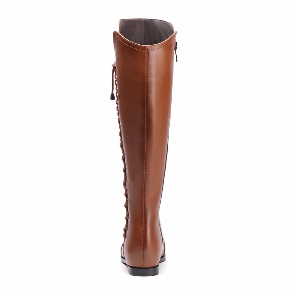 Lace Pointu Croix brown D'hiver Noir Misakinsa Taille Réel En Carrés Bout Sangle Femmes Up Hautes De Chaussures Cuir Bottes Tirette Genou Talons 33 43 2EYDH9eIW