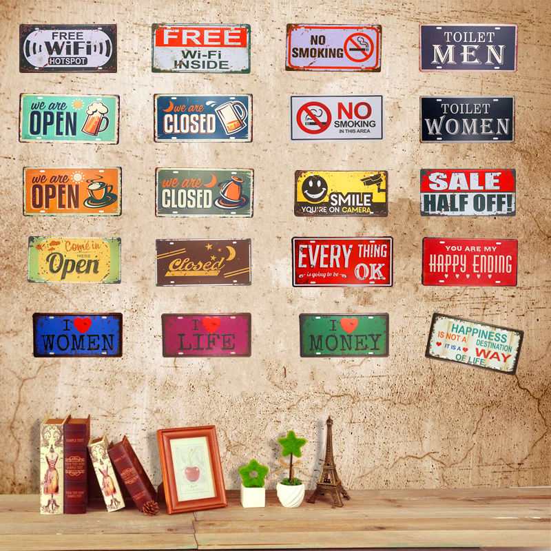 Vintage Car License Plate Tin Sign Plates Metal plaques Free Wifi we are open Closed Art Poster Bar Pub Restaurant Coffee Decor