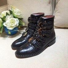 2018 Susanna/ботильоны из натуральной кожи с шипами, женские ботинки martin с круглым носком, заклепками и цветами, женские роскошные бархатные ботинки, zapatos mujer
