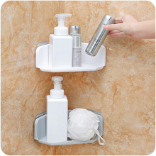 Triangles Plastic Kitchen Storage Corner Rack Bathroom Organizer Shower Shelf Household items Suction Soap Holder