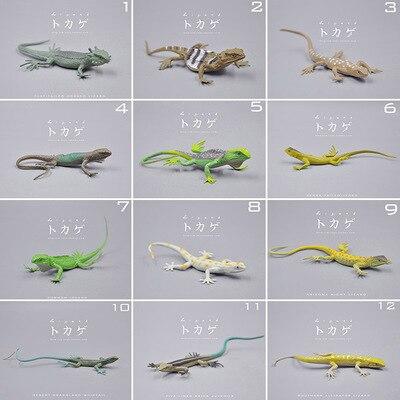 Mini figure Simulation modèle animal sauvage rampant lézard gecko caméléon jouets Poupées Décoration 12 pcs/ensemble