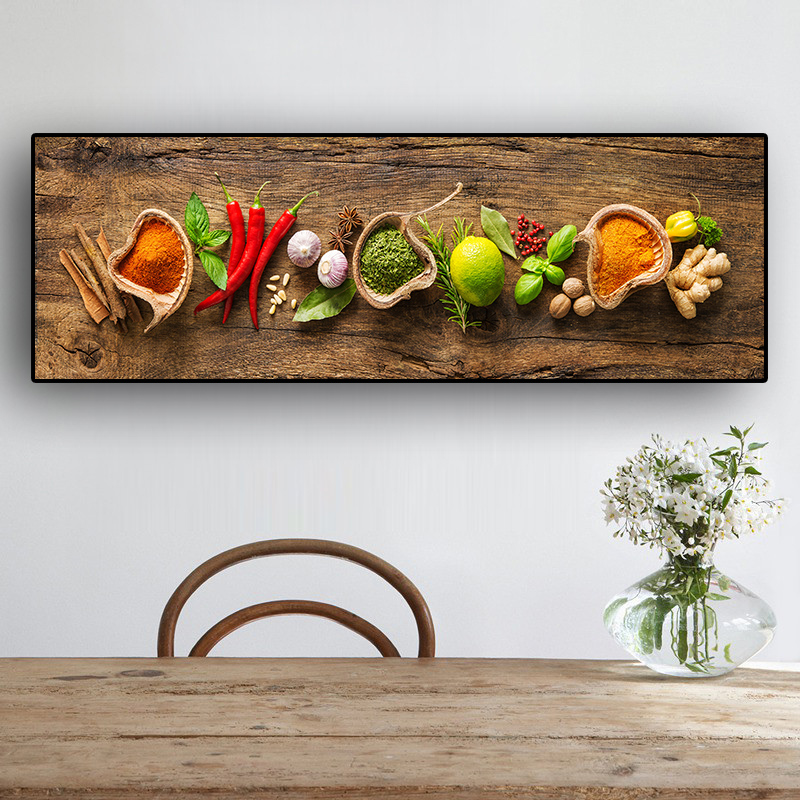 Grains Spices Spoon Peppers Kitchen Canvas Painting Cuadros Scandinavian Posters And Prints Wall Art Food Picture Living Room
