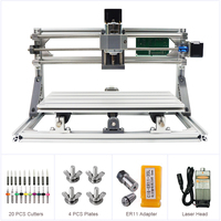 Desktop 3018 GRBL Control DIY Mini Engraver Machine Working Area 240x180x40mm Milling Router 500 5500MW Laser Head Optional