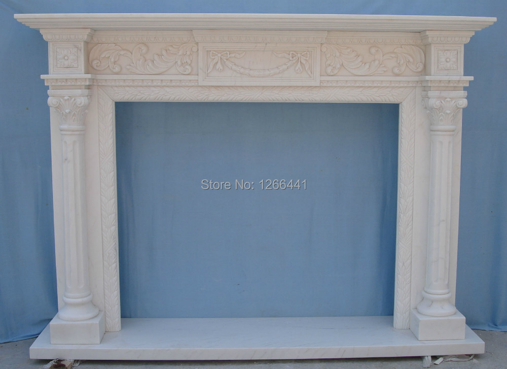 Natural Marble Fireplace Mantel Surround Simple English