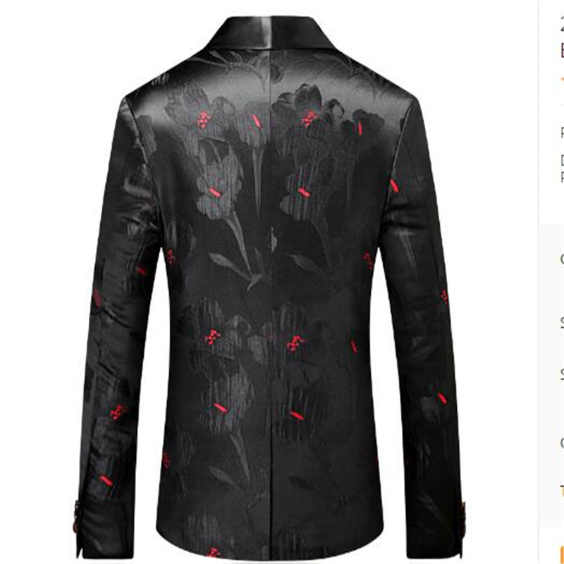Porter Veste 2018 De Mode Bal Noir Floral 1 Casual Slim Hommes Pour Blazers Imprimé Fit Robe Blazer Stage Z6qg1Zw