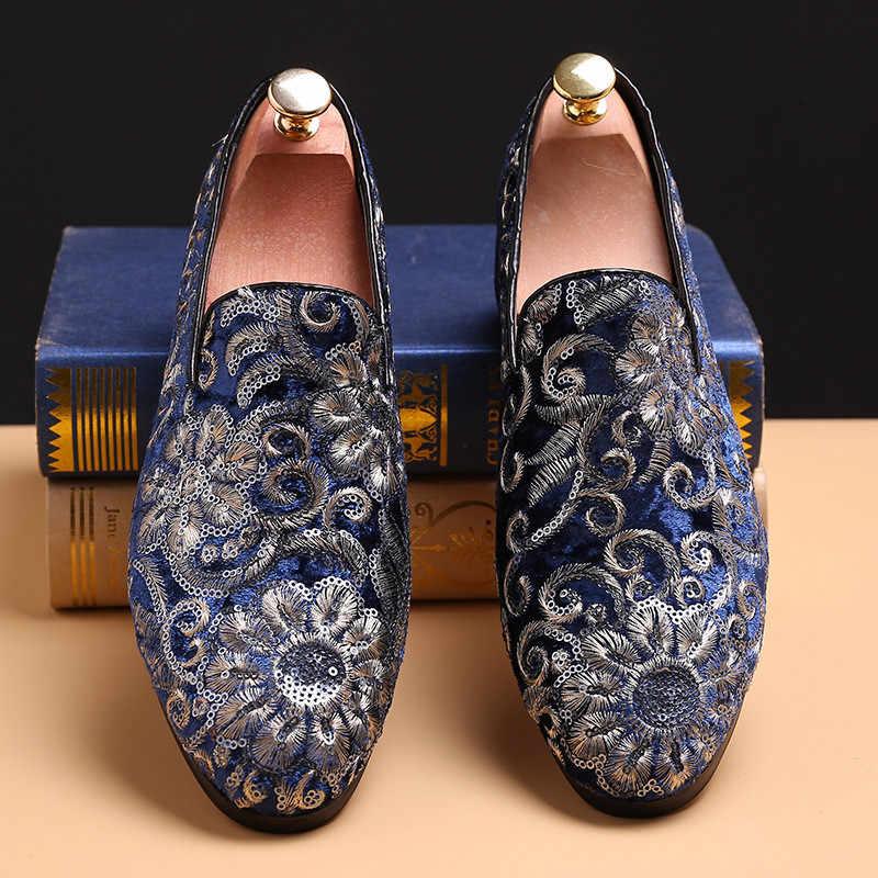 Merkmak Blumen Muster Müßiggänger Männer Stickerei Komfortable Casual Männer Kleid Schuhe Classic Slip Auf Schuhe Mann Wohnungen Große Größe 37 -48